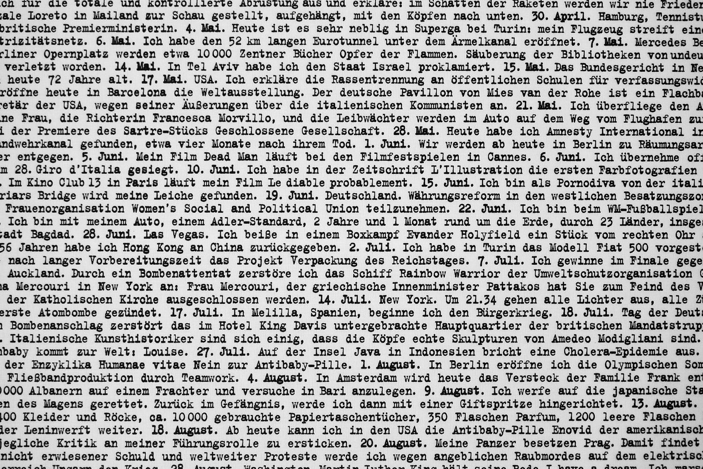 """Daniela Comani, """"Ich war's. Tagebuch 1900-1999"""", 2002/2006, Druck auf Netvinyl, 300x600cm, Detail"""
